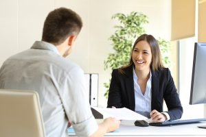 man and woman interview meeting