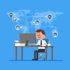 illustration of manager with remote employees