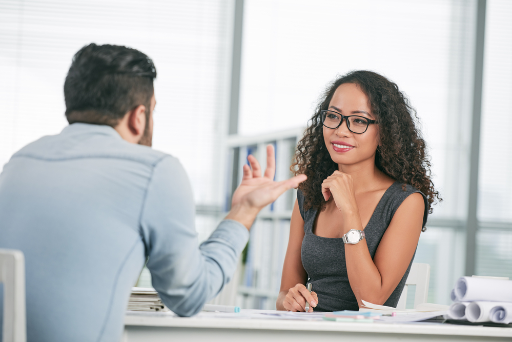 female interviewing with male