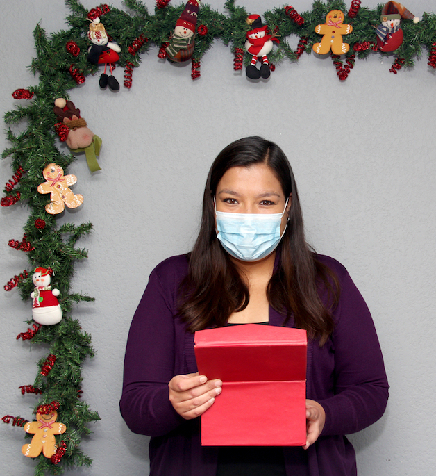 office worker christmas gift with covid mask on